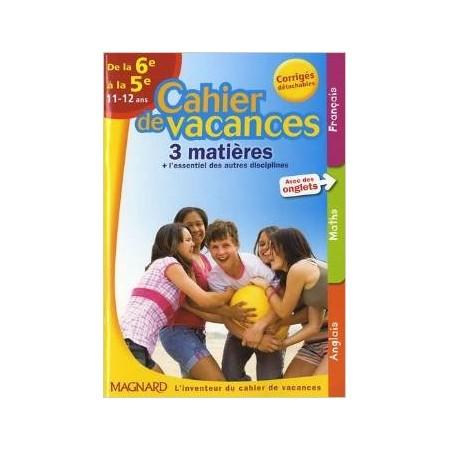 Cahier de vacances 3 matières de la 6e à la 5e