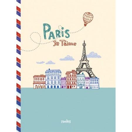 Cahier - Paris je t'aime - bleu et jaune