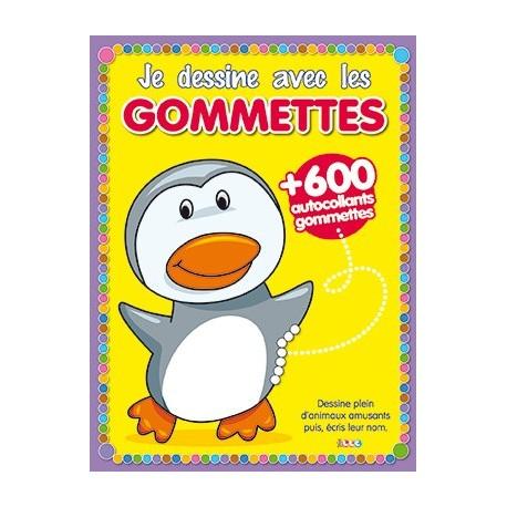 Je dessine et je colorie avec les gommettes : Pingouin