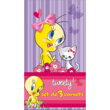 Set de 3 beaux carnets Tweety et Chat