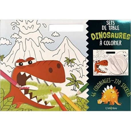 Sets de table Dinosaures à colorier - Avec 270 stickers