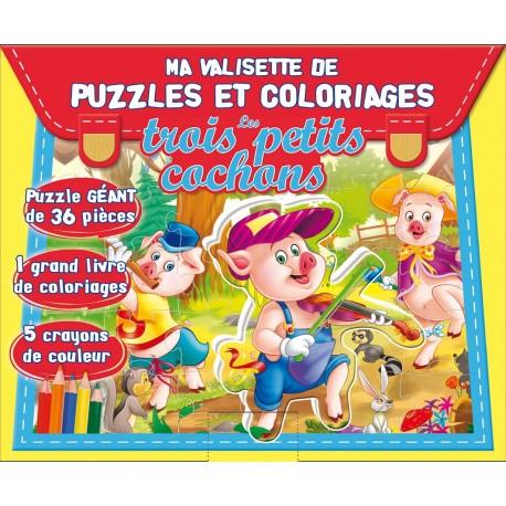 Ma valisette de puzzles et coloriages. Les trois petits cochons