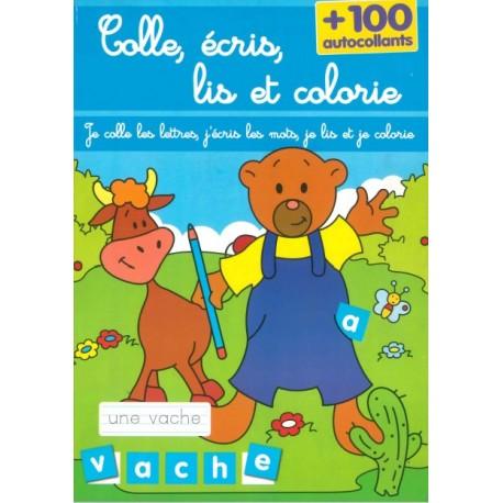 Colle, écris, lis et colorie (bleu)
