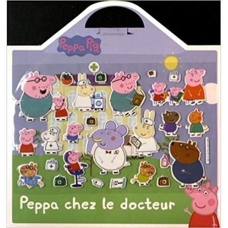 Peppa chez le docteur - 25 stickers repositionnables et 1 grand décor