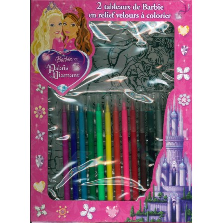 Coffret feutrines Barbie Le palais de diamant ( 2 tableaux relief 3D velours)