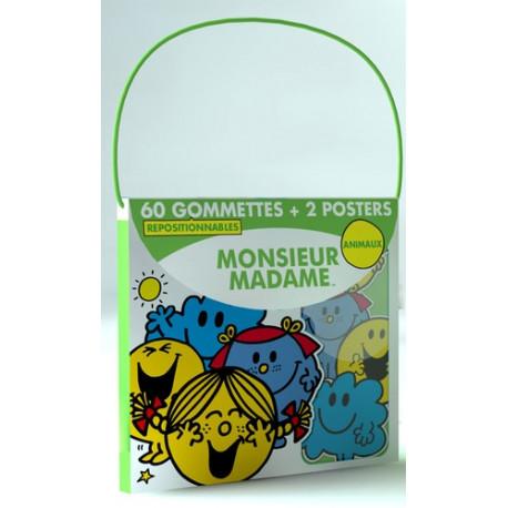 Monsieur Madame animaux - 60 gommettes repositionnables et 2 posters