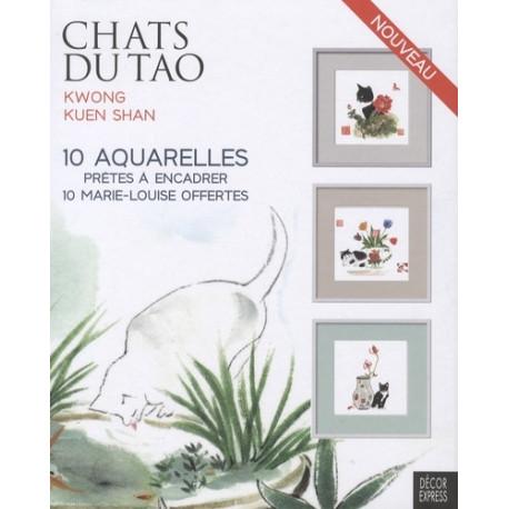 Chats du Tao - 10 aquarelles prêtes à encadrer et 10 marie-louise offertes