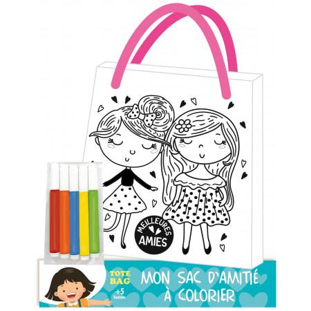 Mon sac d'amitié à colorier filles + 5 feutres