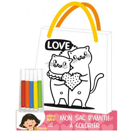 Mon sac d'amitié à colorier chat + 5 feutres