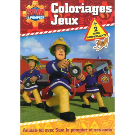 Sam le pompier Coloriages Jeux + 2 pages d'autocollants