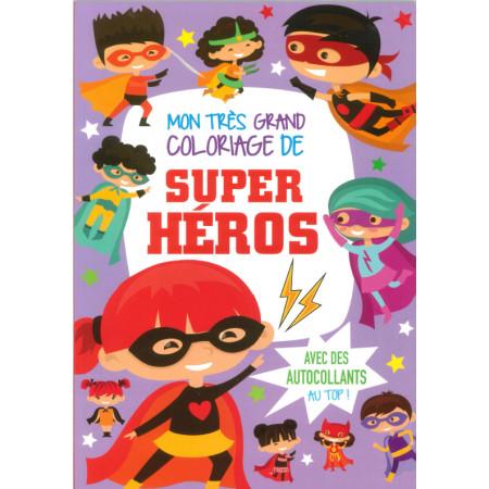 Mon très grand coloriage de super héros avec autocollants