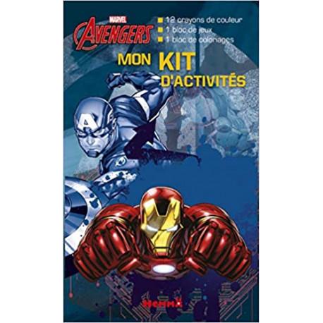 Mon kit d'activités Marvel Avengers - 12 crayons de couleur, 1 bloc de jeux, 1 bloc de coloriages