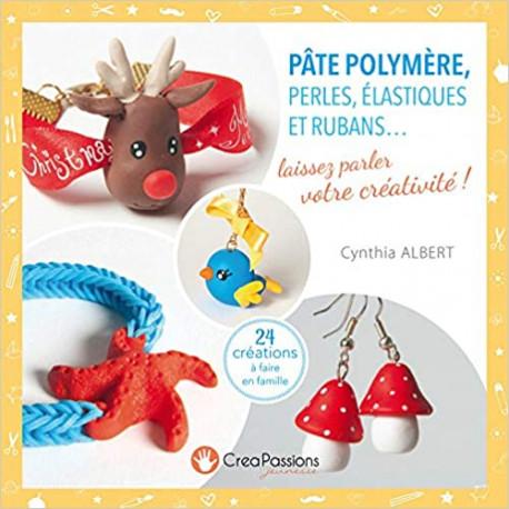 Pâte polymère, perles, élastiques et rubans.