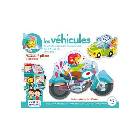Boîte de jeux Les Véhicules 5 puzzles + 3 ans