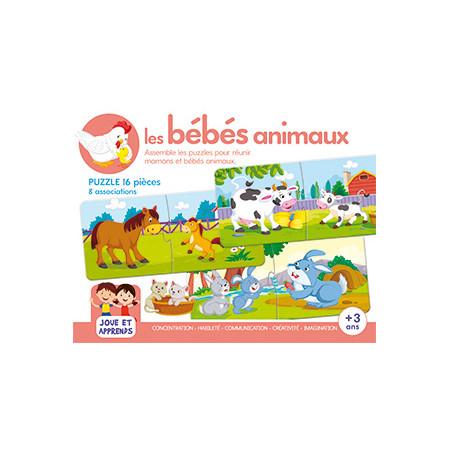 Boîte de jeux Les bébés animaux Puzzles + 3 ans