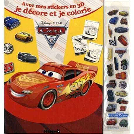 Cars 3 avec mes stickers en 3D je décore et je colorie