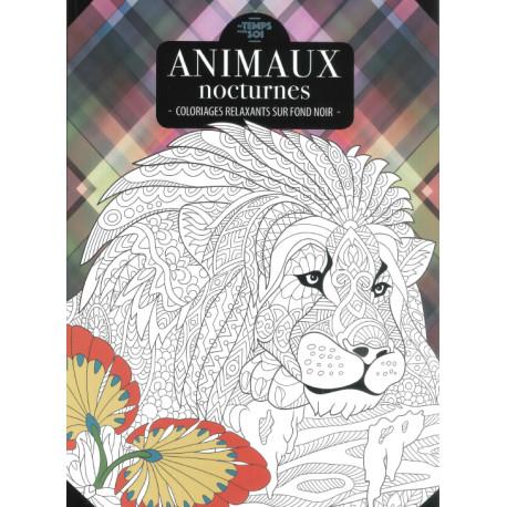 ANIMAUX NOCTURNES - coloriages relaxants sur fond noir