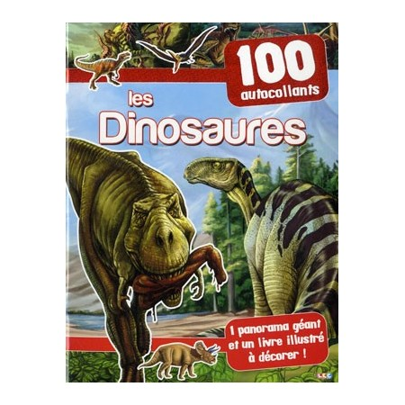 Les dinosaures (rouge). 100 autocollants + 1 panorama