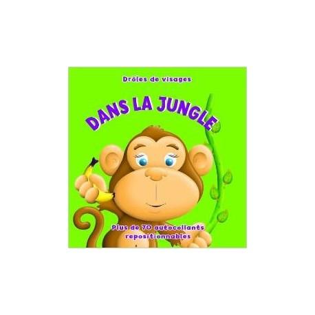 Drôles de visages dans la Jungle - Plus de 70 autocollants repositionnables