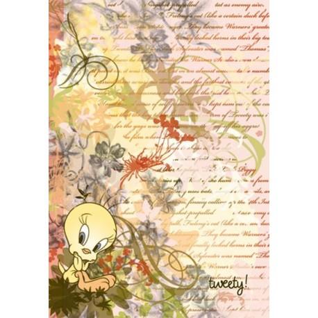 Carnet - Tweety dans des fleurs - vernis sélectif