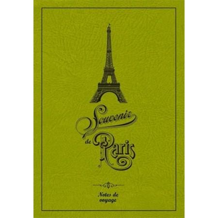Carnet - Paris tour Eiffel fond vert - Toucher peau de pêche