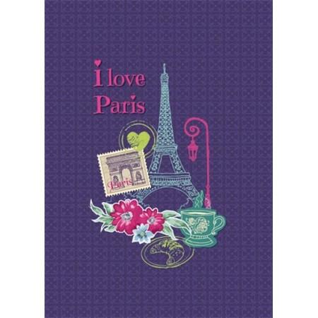 Carnet - I Love Paris - violet - Toucher peau de pêche