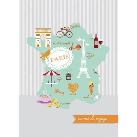 Carnet de voyage - carte de France - Vernis sélectif