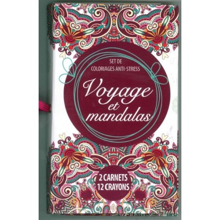 Coffret voyage et mandalas (2 carnets + 12 crayons)